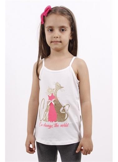 Toontoy Kids Toontoy Kız Çocuk Fiyonk Aksesuarlı Kedi Baskılı Atlet Ekru